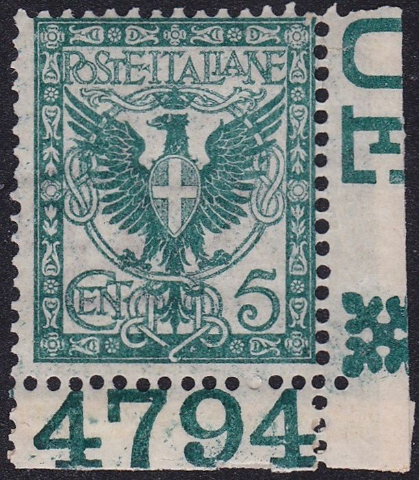 Italië 1901 - Coat of arms 5 c. green sheet corner, offset on the back variety - Sassone 70q