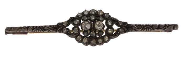 Victoriaans - 14 kt. Silver, Yellow gold - Brooch - 0.70 ct Diamond