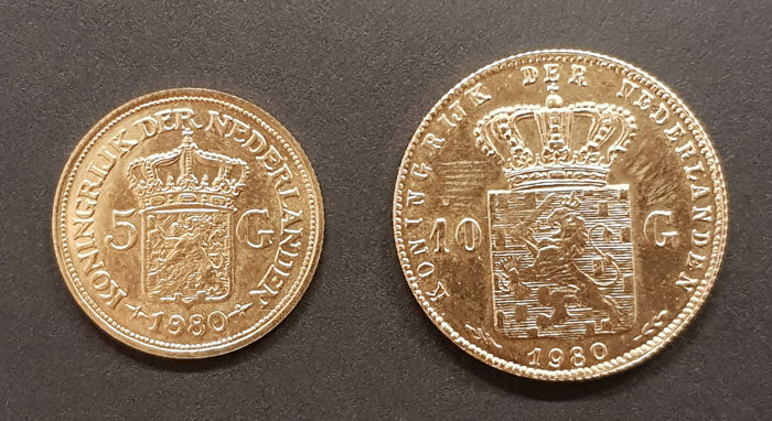 The Netherlands - Penningen van 5 en 10 Gulden 1980 Beatrix - Gold