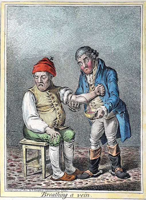 2 prints - James Gillray (1756-1810) - Medicine - Breathing a Vein, handcoloured