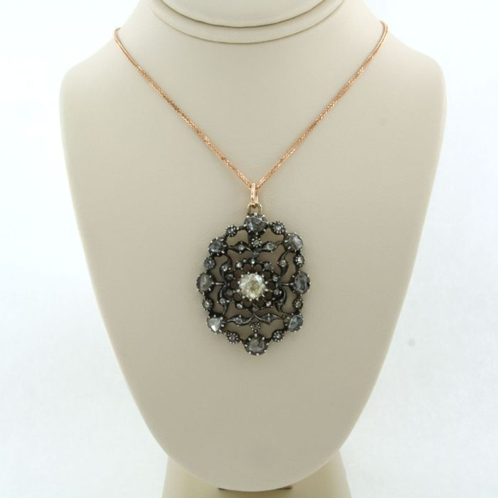 14k goud, Z2 zilver Pink gold, Silver - Necklace with pendant - 1.00 ct Diamond