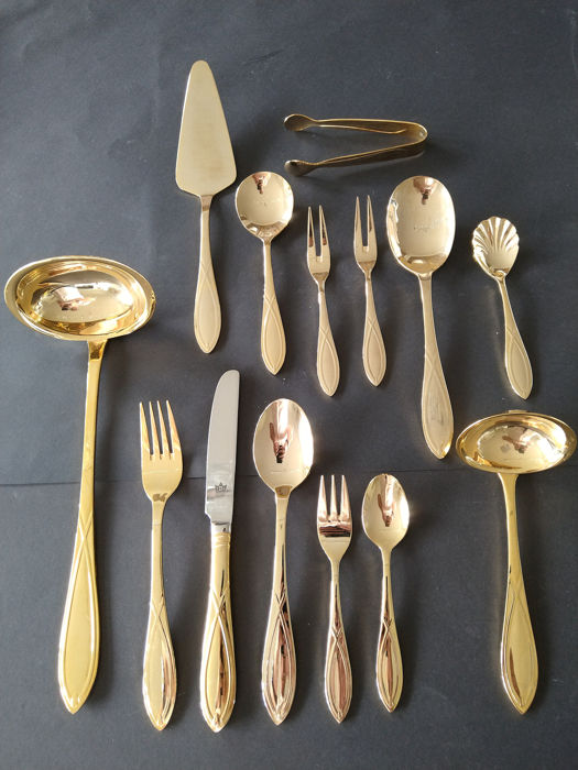 SBS Solingen Royal Empire Collection - 49 piece luxury cutlery for 8 persons - 23/24 carat gold plated with rare cruciate ligament decoration