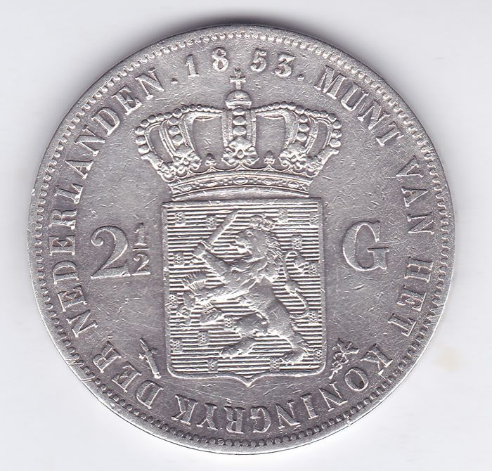 The Netherlands - 2½ Gulden 1853 over 52 (Overslag) Willem III - Silver