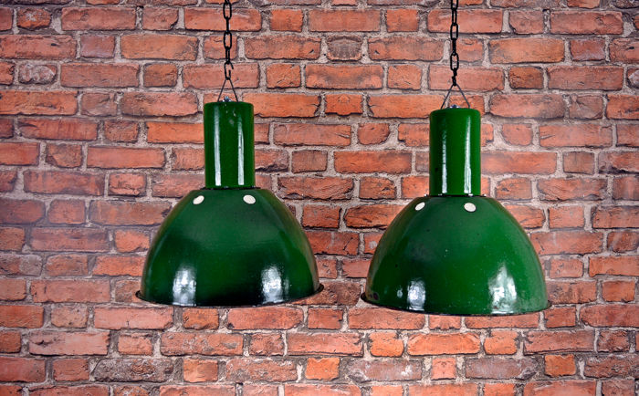 Unknown designer - Russian enamel industrial factory light (2x)