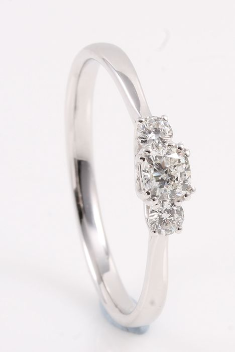 14 karaat Witgoud - Ring - 0.55 ct Diamant
