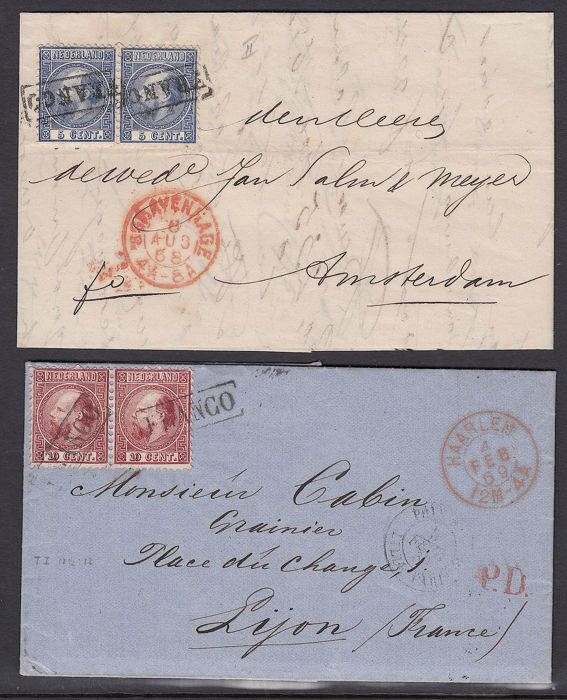 Netherlands 1867 - Two folding letters with pairs NVPH 7 and 8