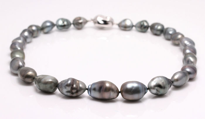NO RESERVE PRICE - 925 Silver - 11x15mm Tahitian Pearls - Necklace -  Catawiki