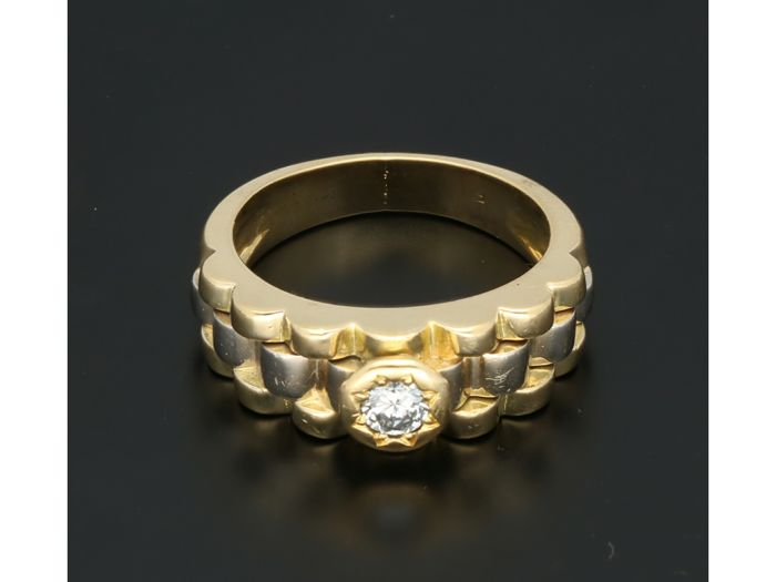 18 quilates Bicolor, Oro - Anillo - 0.16 ct Diamante