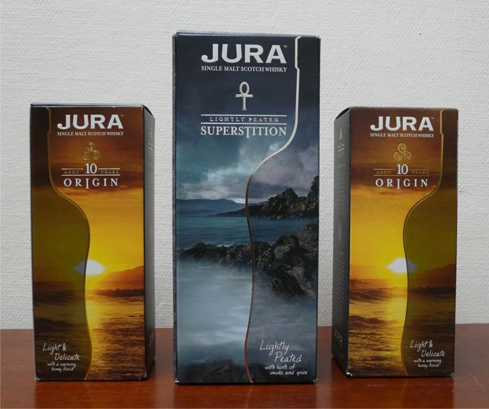 Isle of Jura Superstition & 10 years old Origin - 70cl & 35cl - 3 bottles