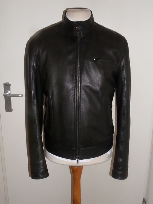 Emporio Armani - Leather Cafe-Racer jacket - Size: EU 52 (IT 56 - ES/FR 52 - DE/NL 50)