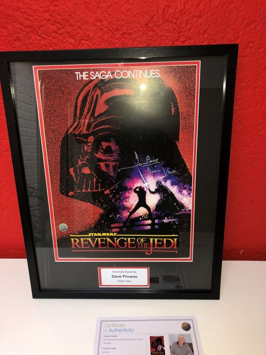 Star Wars -  Revenge of the Jedi art - Dave Prowse is Darth Vader - Signed framed large photo, with Coa