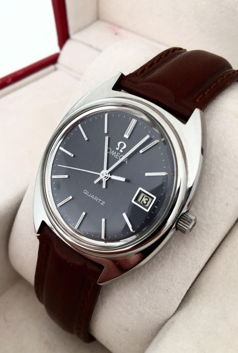 Omega - Grey-Blue Dial - Stainless Steel Gents Wristwatch - Heren - 1980-1989