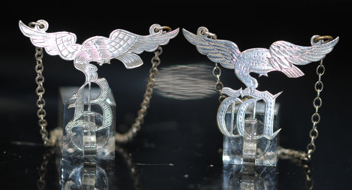Novelty Bottle Tag Eagles - Silver - Europe - 20thC