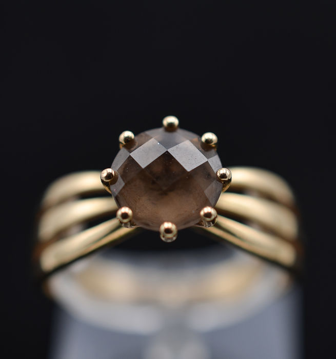 18 kt. Yellow gold - Ring - 1.87 ct Smoked quartz