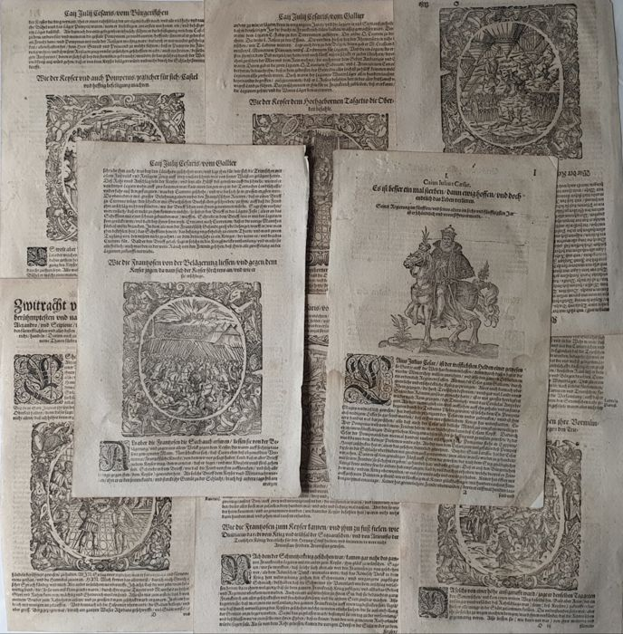 9 prints by Jost Amman (1539 – 1591)  - Historical - Collection large prints with highly decorated cartouches