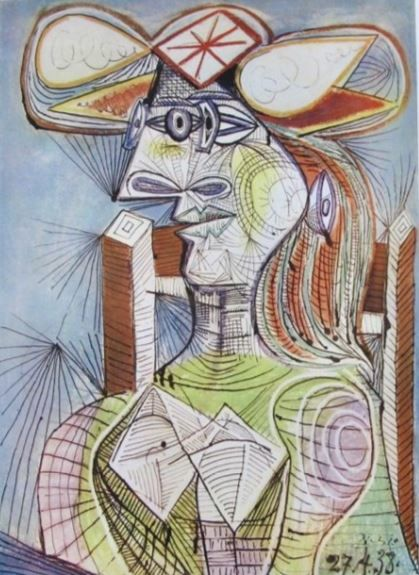 Pablo Picasso ( after ) - Seated Woman on Wood Chair