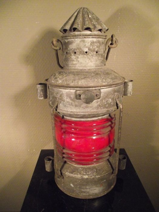 Lampe navire antique tribord / rouge - Alliage