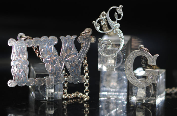 Ornate Bottle Novelty Tag Letters - Silverplate