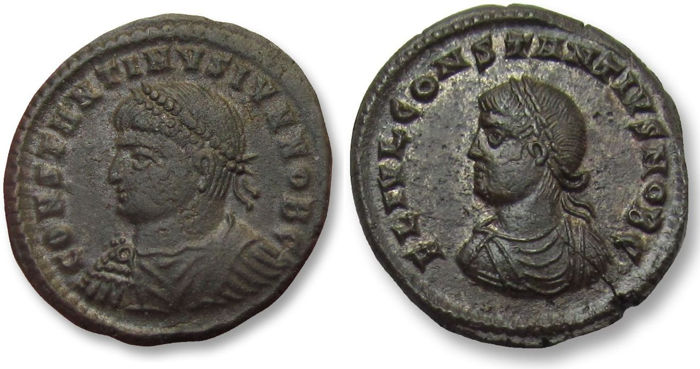 Romeinse Rijk - Group of 2x AE folles, Constantine II + Constantius II as Caesar - in nearly mint state - Cyzikus and Heraclea mint 325-326 A.D. - SMKA + SMHΓ in exergue - Brons