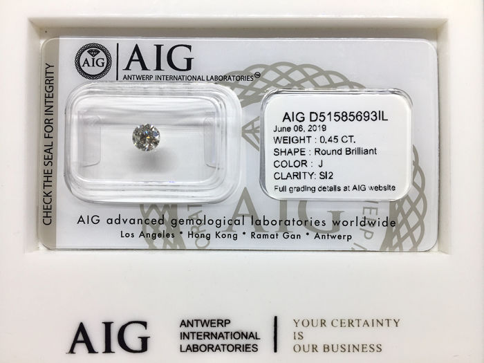 1 pcs Diamond - 0.45 ct - Briliáns, Kerek - J - SI2