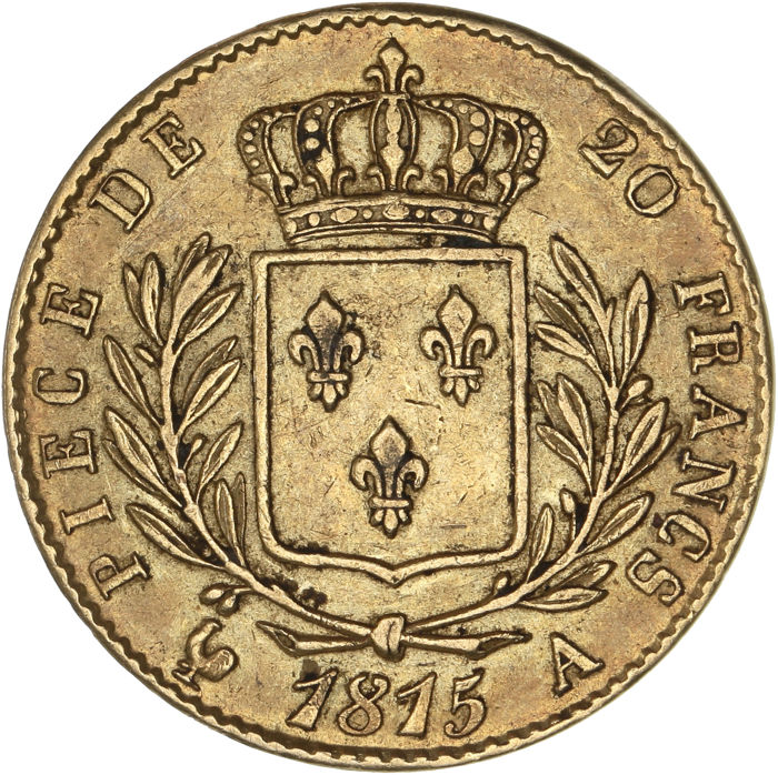 France - 20 Francs 1815-A Louis XVIII - Or