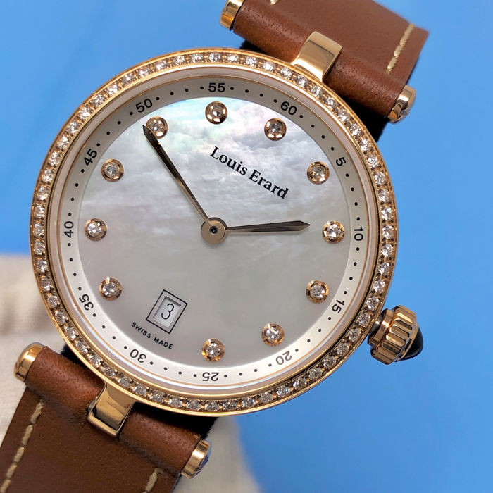 Louis Erard - Diamonds for 0,37 Carats White Mother of Pearl Dial Romance Collection Swiss Made   - 10800PS24.BRCA9 - Women - BRAND NEW