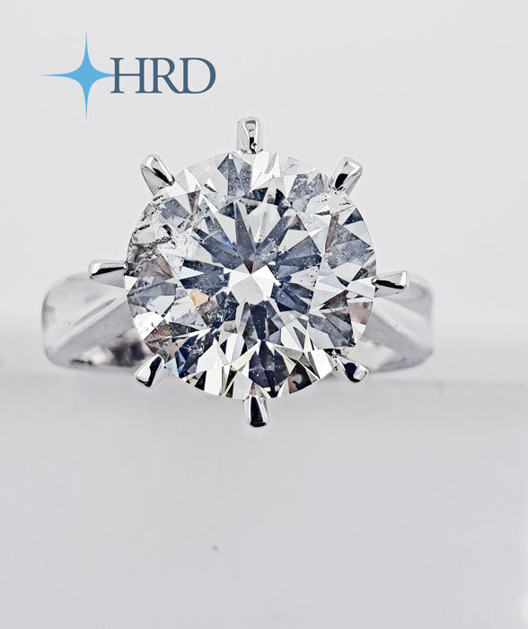 18 carats Or, Or blanc - Bague - 4.04 ct Diamant - Hrd