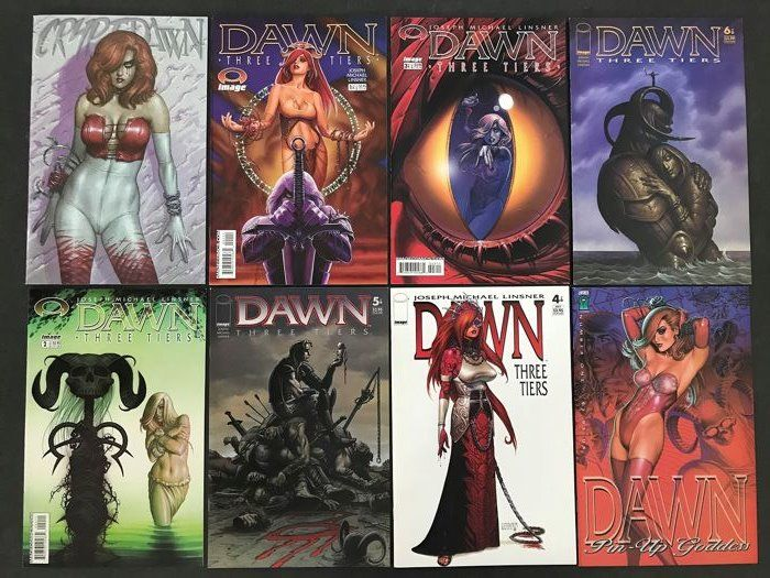 Dawn - Lot of Various Dawn Comics Limited signed and Complete Series - Softcover - First edition