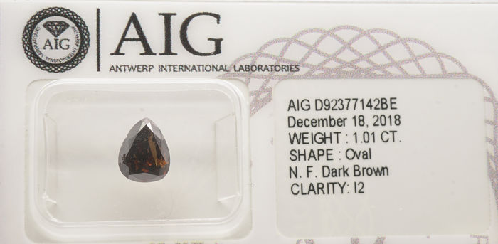 1 pcs Diamanti - 1.01 ct - Forma di pera - fancy dark brown - I2- No reserve
