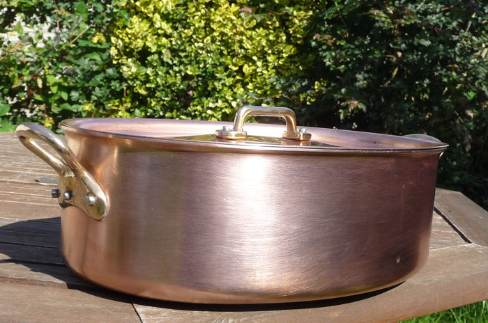 een hoorn - heavy large professional oval fish pan with lid (3045 g) - Copper
