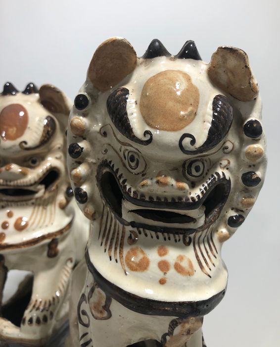 Foo dog - Ceramic - Foo dogs -  Pair of 19th C Foo Dog Incense Burners  - China - 19th century