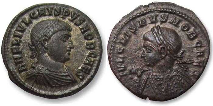 Romeinse Rijk - Group of 2x AE folles, Crispus as Caesar - in nearly mint state - Nicomedia and Trier mint 317-321 A.D. - SMN + STR in exergue - Brons