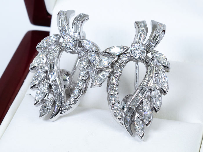 14 carats Or - 3,52 ct - Boucles d'oreilles en diamant fin - 56 diamants.