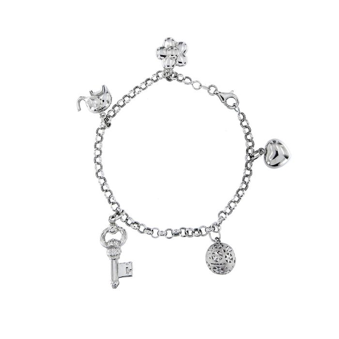 Made in Italy - 18 kt. White gold - Bracelet, Charms