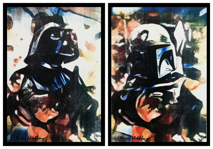 Emma Wildfang - DARTH VADER and BOBA FETT - Loose page - 2 artworks- Oil pastels on an artist cardboard
