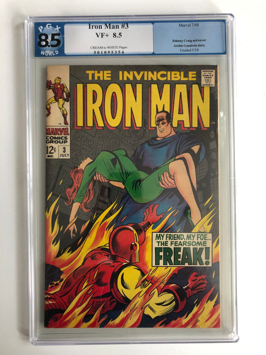 Iron Man #3 - Happy Hogan Becomes The Freak - PGX Graded 8.5 - Very High Grade!!! - Softcover - First edition - (1968)