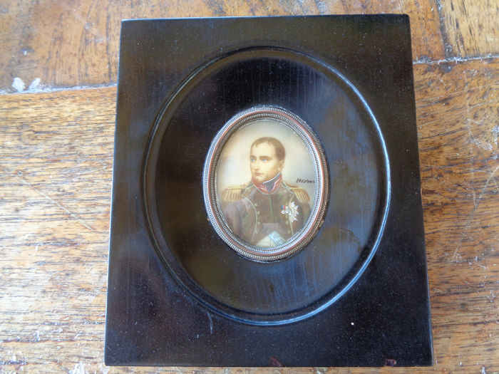 Miniature painting of Napoleon on paper, signed
