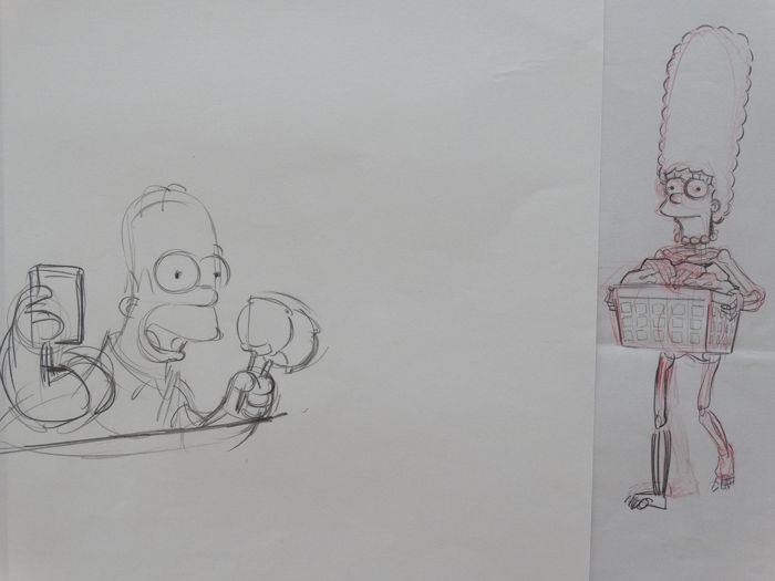 Les Simpsons - Matt Groening - 2 Original drawings Homer & Marge - Œuvre d'art