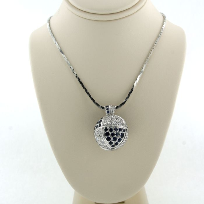 18 kt. White gold - Necklace with pendant - 2.80 ct Diamond - Sapphire