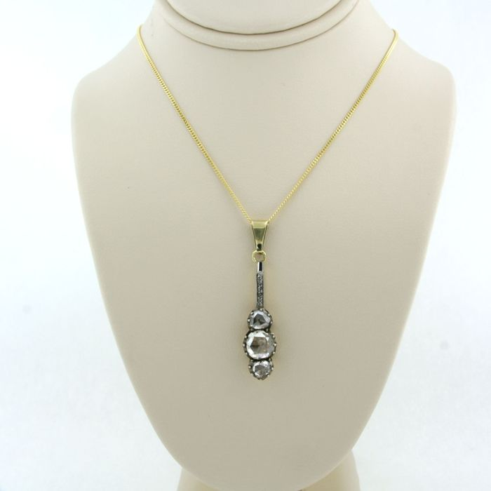 14k goud Z2 zilver Gold, Silver - Necklace with pendant - 1.00 ct Diamond