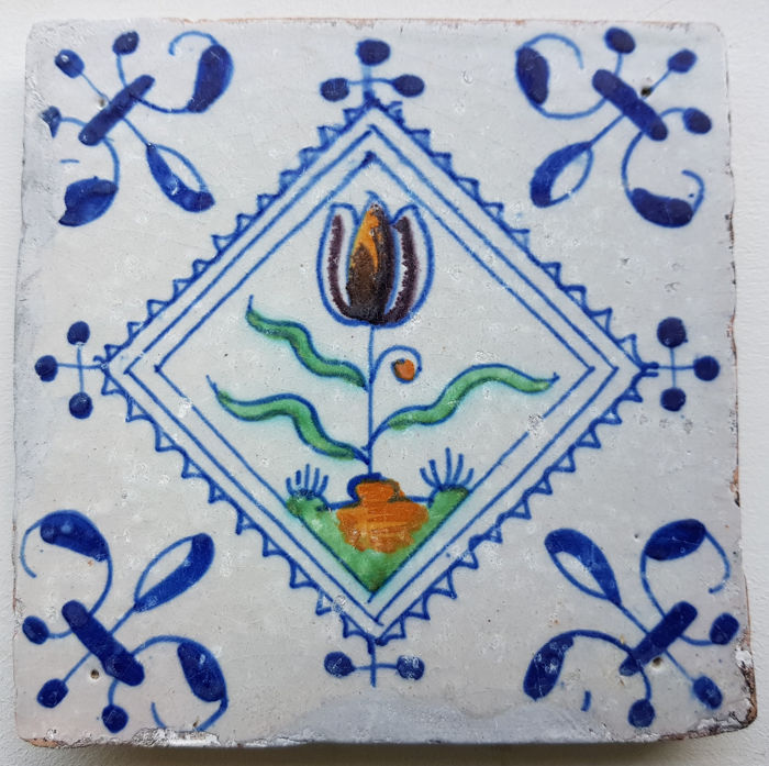 Tulip Tile in Postage Stamp Square 1625-1650 (1) - Earthenware