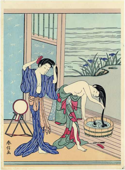 Houtblok print (herdruk), Ukiyo-e - Suzuki Harunobu (1725-1770) - Two Women Washing Their Hair - Eind 20e eeuw