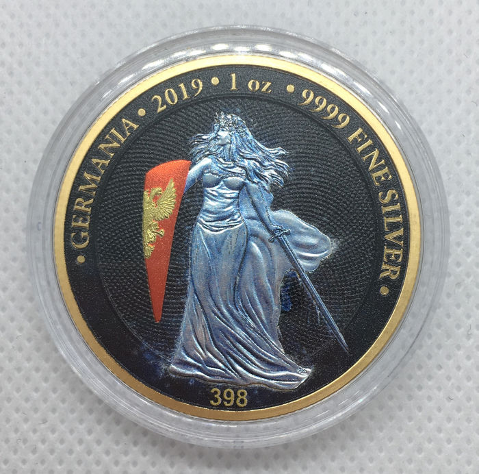 Germany - 5  Mark 2019 Germania Space-X ICE -  gold plated - 1 Oz  - Silver