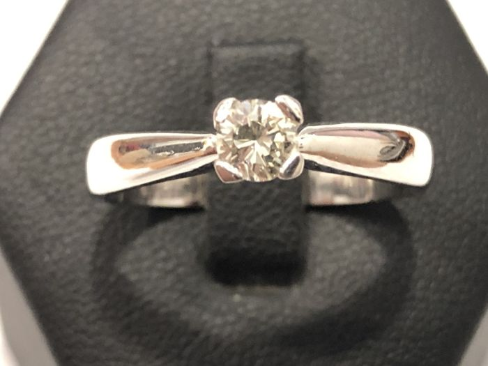 18 carats Or blanc Bague, solitaire 0.33 ct Diamant Catawiki