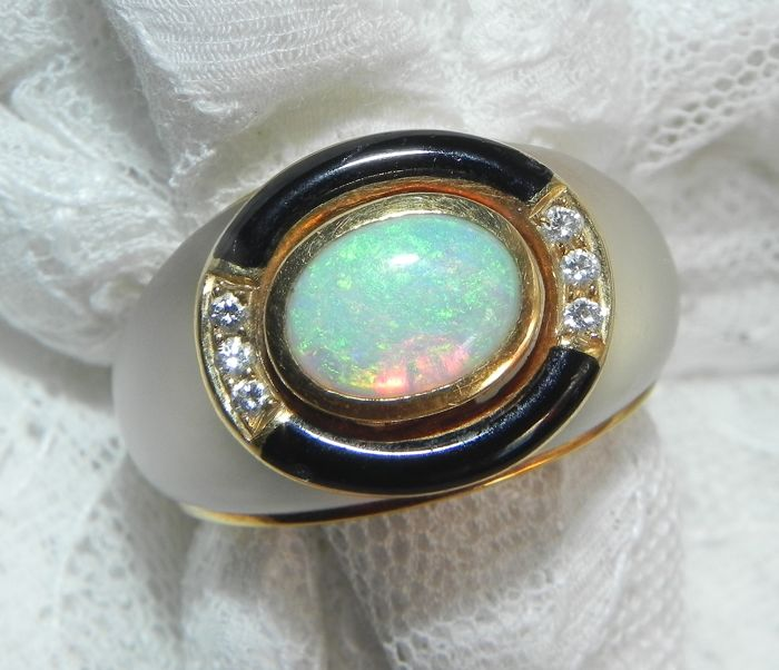 Otto Klein, Yellow gold - Ring 750-gau gold ring mountain crystal with opal, enamel tapes 6 brilliance - 1.00 ct Opal