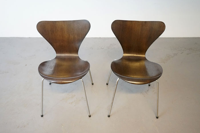 Arne Jacobsen - Fritz Hansen - 2x vintage series 7, Butterfly chairs (2) - Butterfly chair (3107)