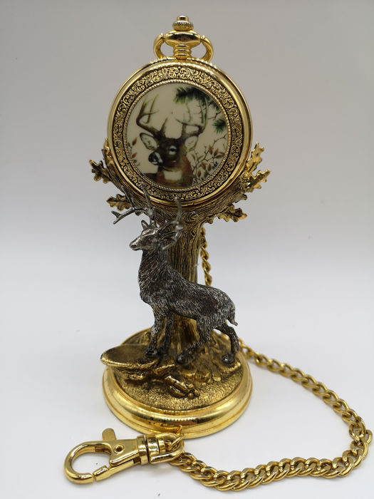 Franklin Mint 10 Point Buck Pocket Watch with Stand - Metal