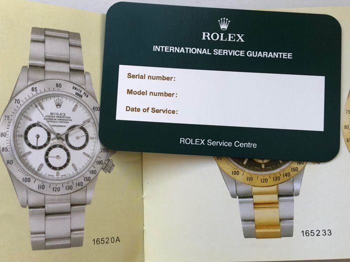 Rolex - Rolex Daytona 1989 Booklet English language + Blank service guarantee  - reference 16520 (year 1989!!!) - Unisex - 1989