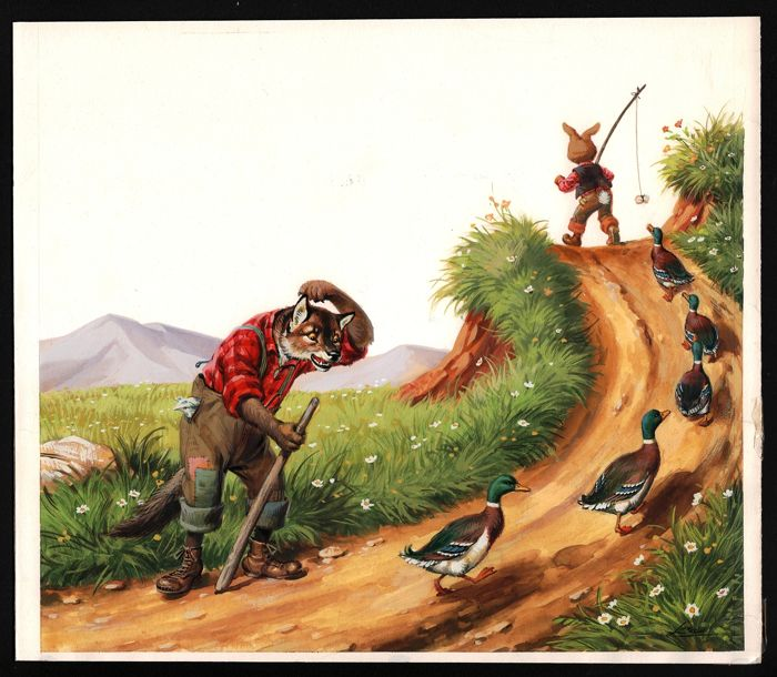 Severino Livraghi - Br'er Rabbit ( Broer Konijn ) - Originele illustratie - Gouache on board - (1970)
