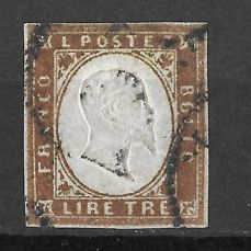 Cerdeña 1863 - 3 lire copper thick paper - Sassone n. 18